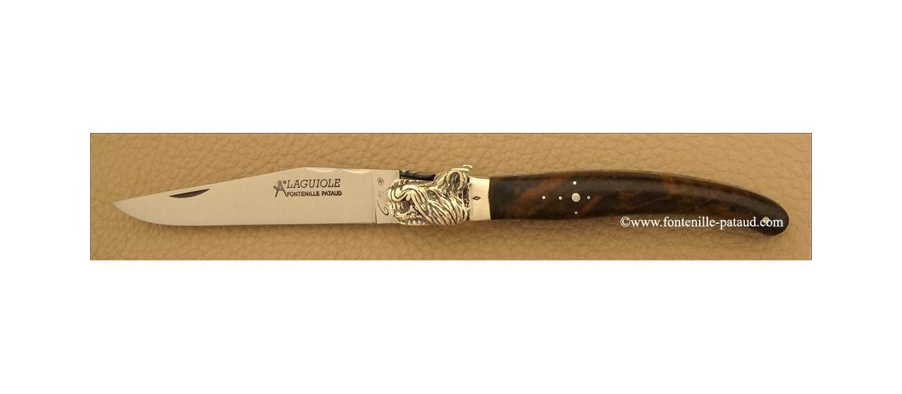 Couteau Laguiole Traditionnel 12 cm Classique Mitre Argent Noyer