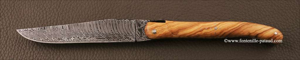Set of 2 Laguiole Steak Knives Damascus Full handle Olivewood