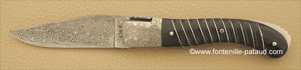 Couteau Laguiole Sport Damas Pointe de corne noire Tresse en argent