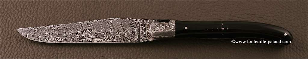 Boîte de 6 Laguiole de Table Damas Pointe de corne noire