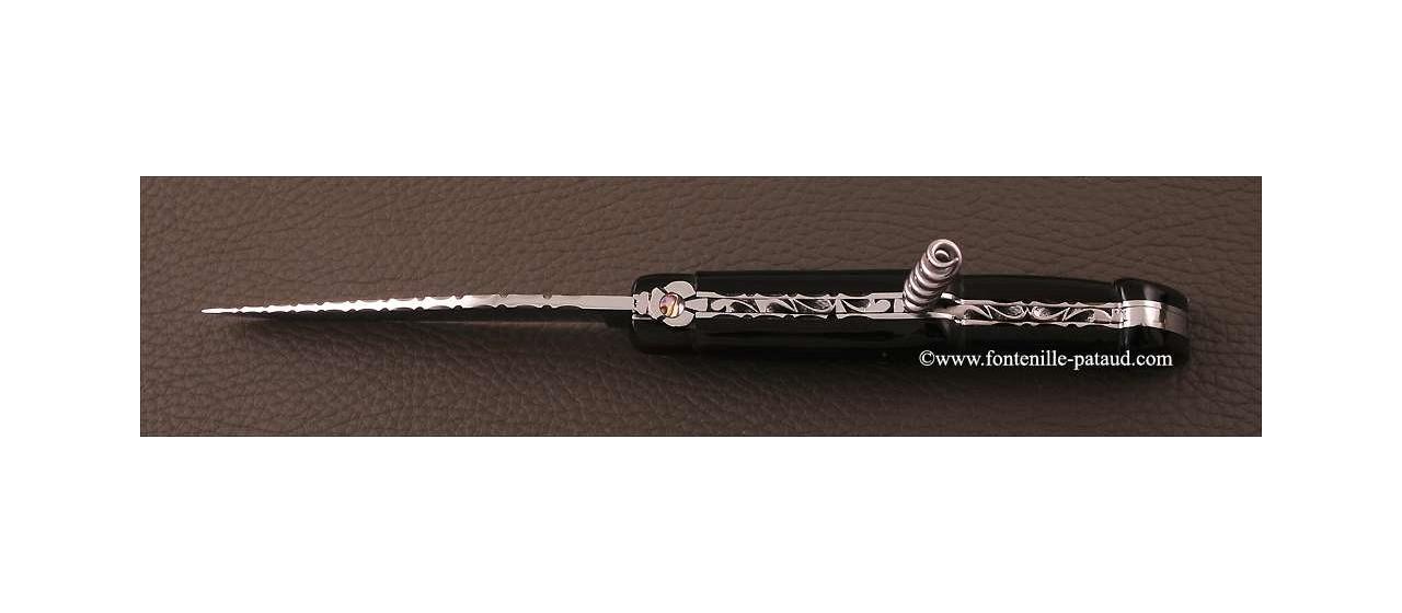 Couteau Laguiole Traditionnel 12 cm Guilloche avec Tire-Bouchon Pointe de corne noire