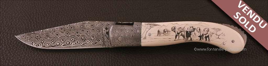 Laguiole Knife Sport Damascus Range Ivory Delicate file work Scrimshaw