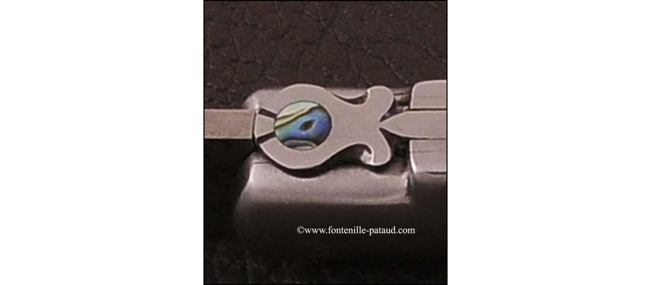 Couteau le 5 Coqs damas bélier fabriqué en France
