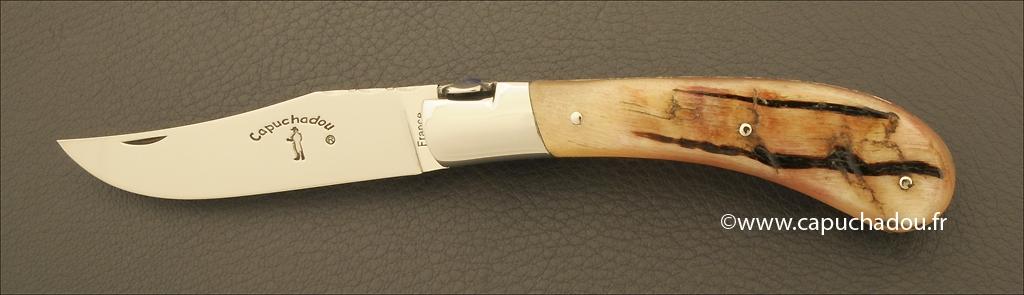 """Le Capuchadou-Guilloché"" 10 cm hand made knife, Ram horn"