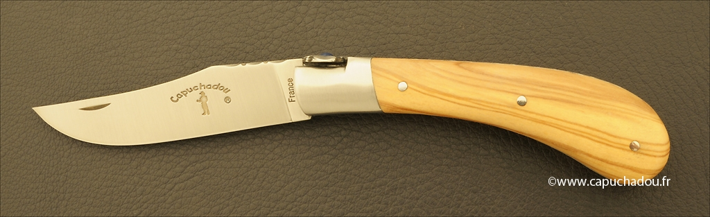 """Le Capuchadou-Guilloché"" 10 cm hand made knife, olivewood"