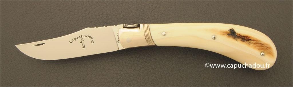 """Capuchadou 10 cm """"Guilloché"""", ivoire de Phacochère"""