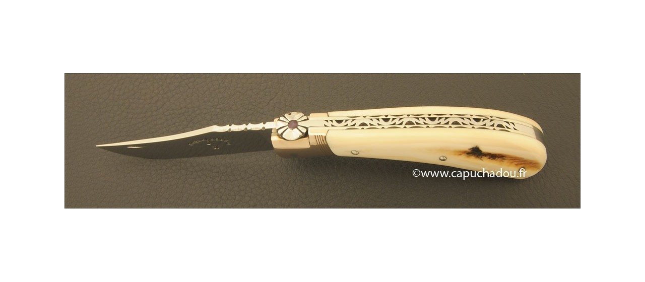 """""""Le Capuchadou-Guilloché"""" 10 cm hand made knife, warthog ivory"""
