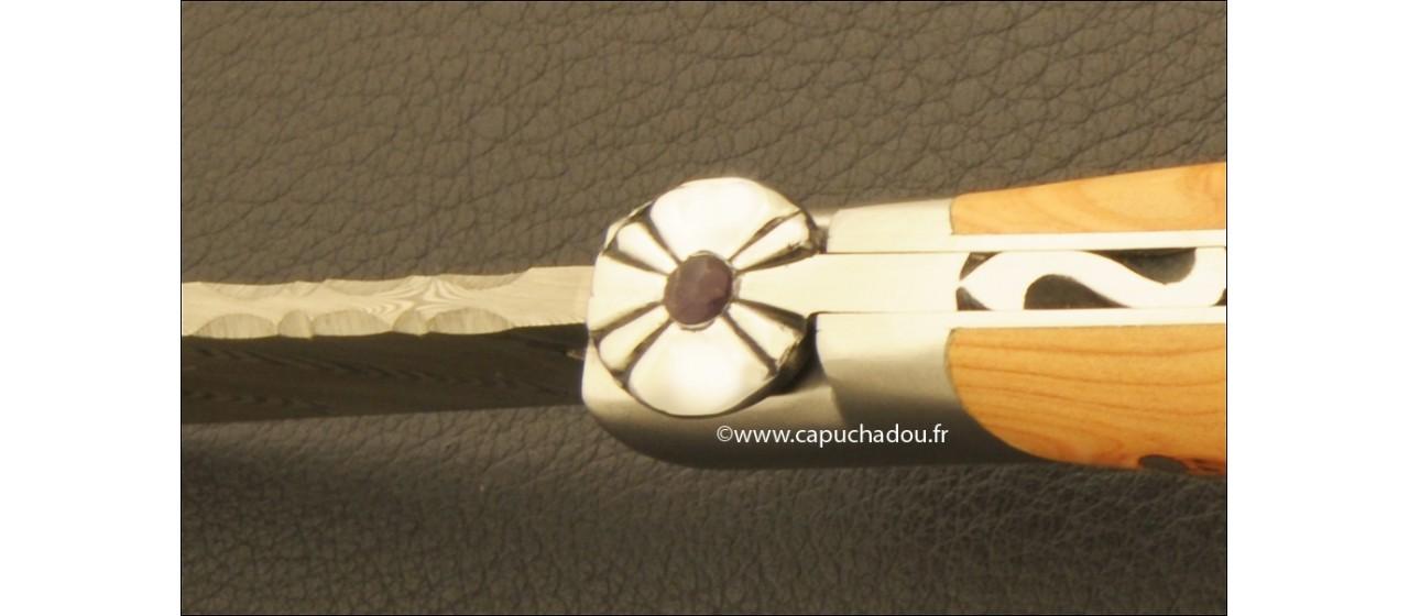 """Le Capuchadou-Guilloché"" 10 cm hand made knife, juniper & Damascus"