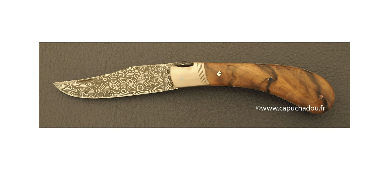 """Le Capuchadou-Guilloché"" 10 cm hand made knife, walnut & Damascus"
