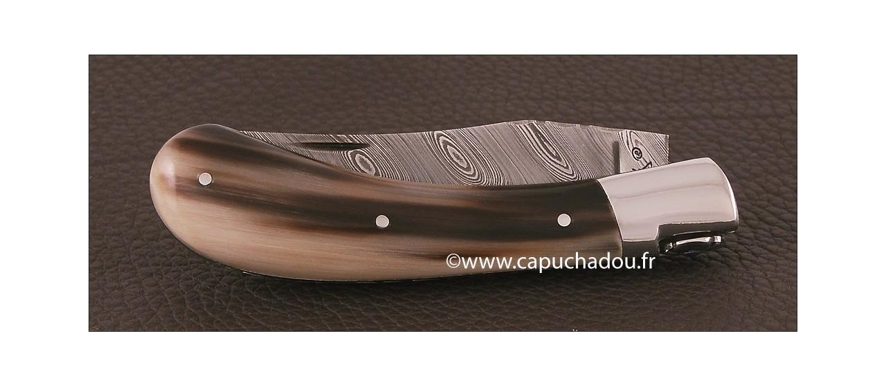 """Le Capuchadou-Guilloché"" 10 cm hand made knife, Horn tip & Damascus"
