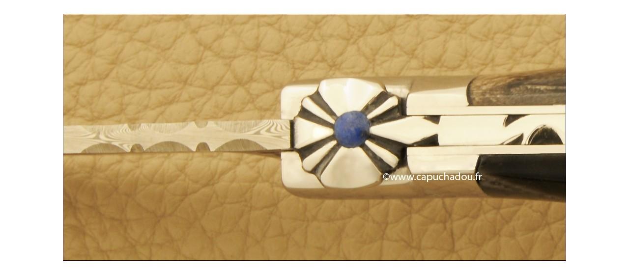 """Le Capuchadou-Guilloché"" 10 cm hand made knife, buffalo Horn tip & Damascus"