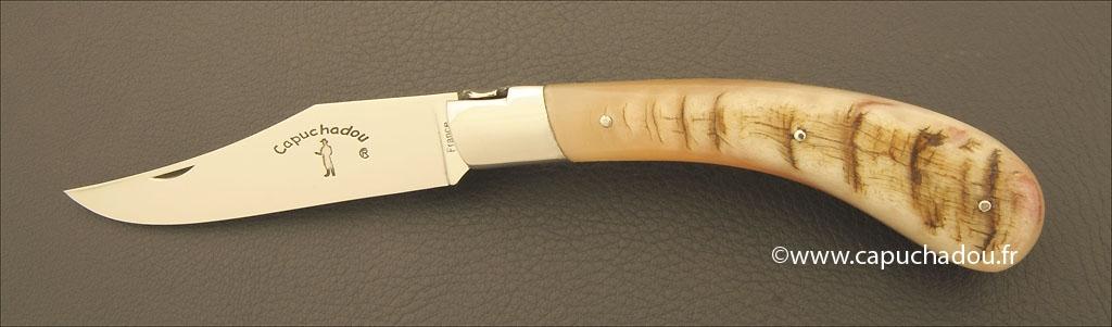 """Le Capuchadou"" 12 cm hand made knife, ram horn"