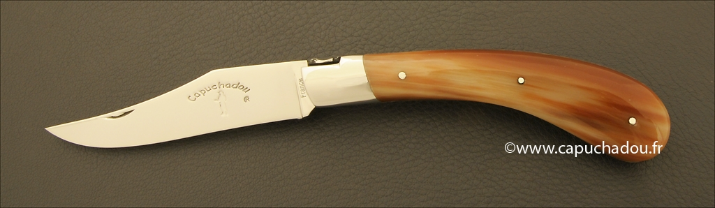 """Le Capuchadou"" 12 cm hand made knife, cow horn tip"