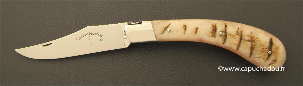 """Le Capuchadou-Guilloché"" 12 cm hand made knife, ram's horn"