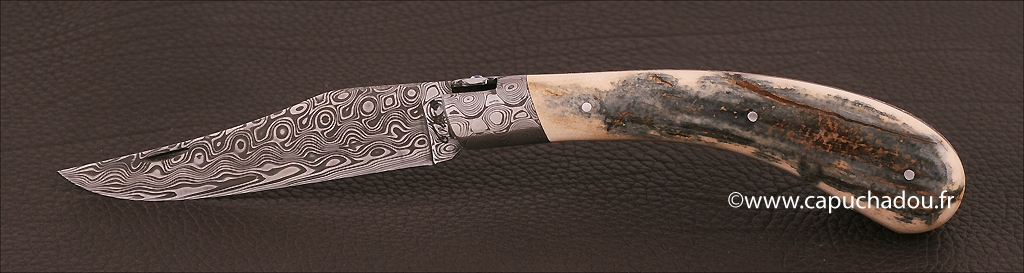 """Le Capuchadou-Guilloché"" 12 cm hand made knife, blue mammoth & Damascus, delicate filework"
