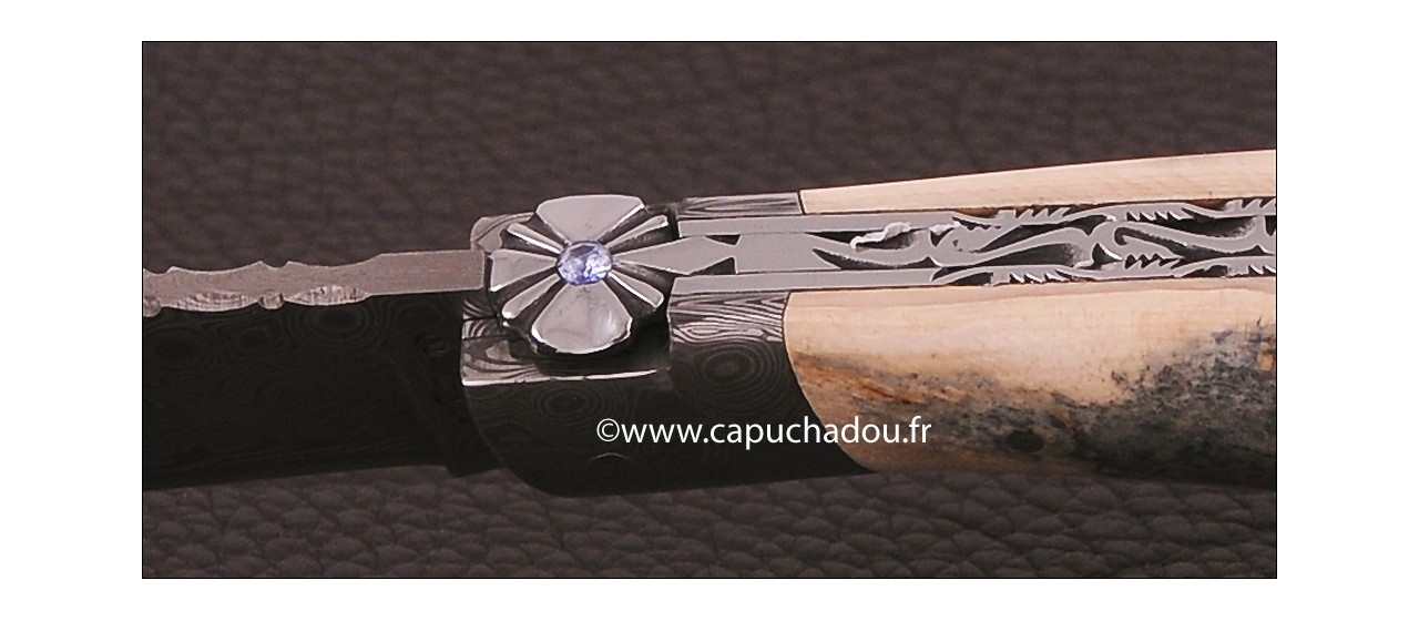 """""""Le Capuchadou-Guilloché"""" 12 cm hand made knife, blue mammoth & Damascus, delicate filework"""
