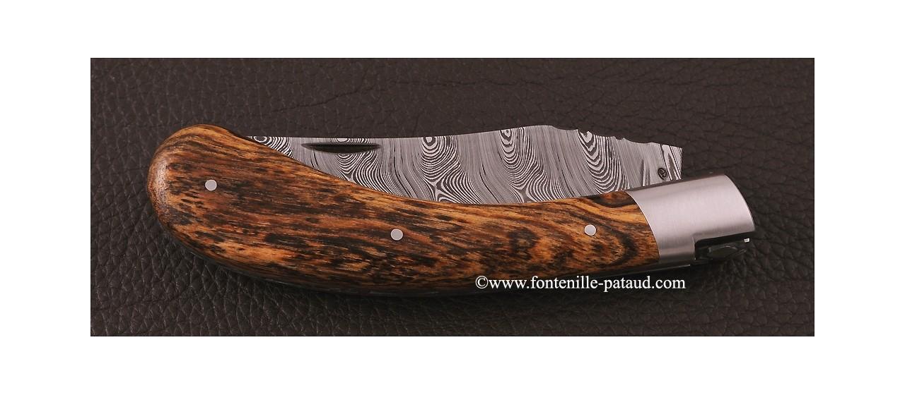 """Le Capuchadou"" 12 cm hand made knife, Bocote & Damascus"