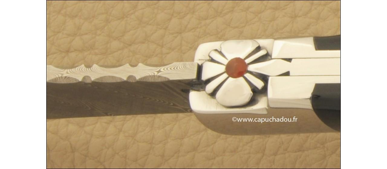 """Le Capuchadou"" 12 cm hand made knife, buffalo bark & Damascus"