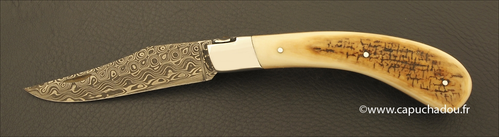 """Le Capuchadou-Guilloché"" 12 cm hand made knife, mammoth & Damascus"