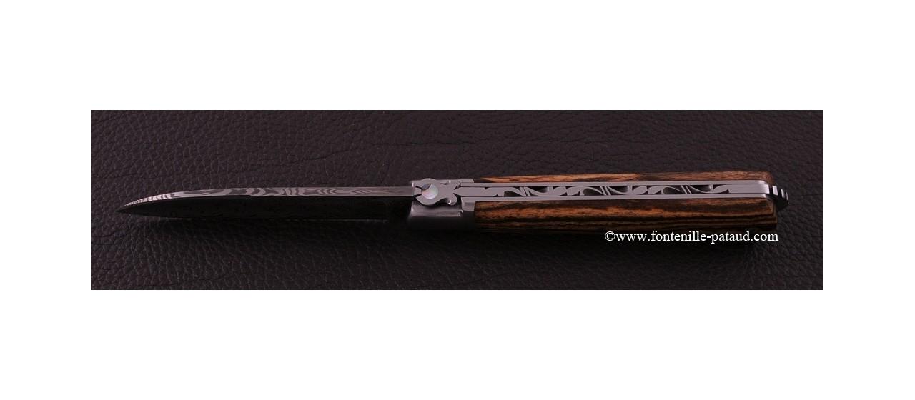 Couteau le 5 Coqs damas bocote fabriqué en France
