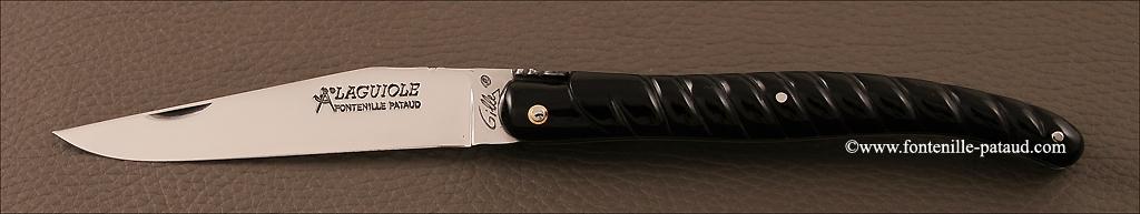 Couteau laguiole ancien sculpté corne de buffle