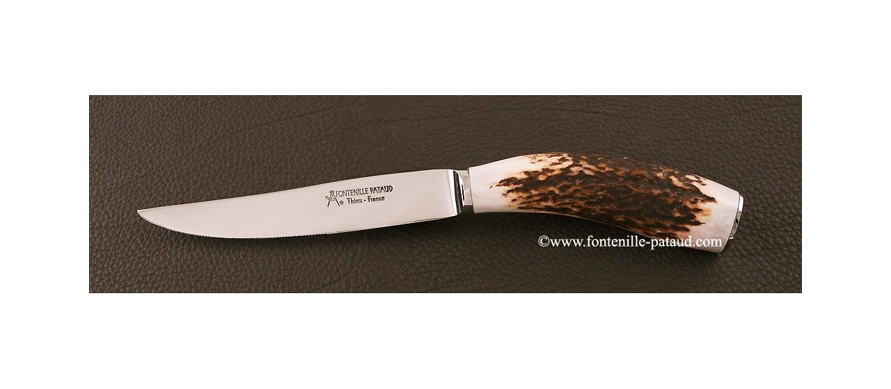 Boîte de 6 Couteaux de Table Bois de cerf véritable