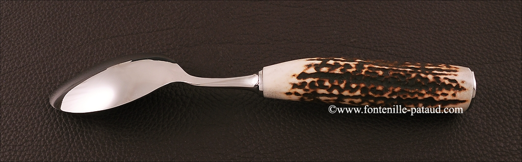 Set of 6 Forged spoons Real stag horn