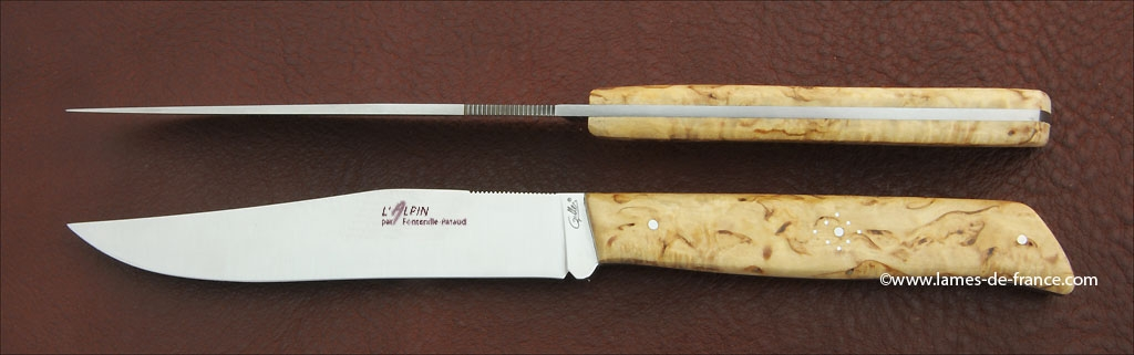 Set of 2 Alpin knives Curly birch