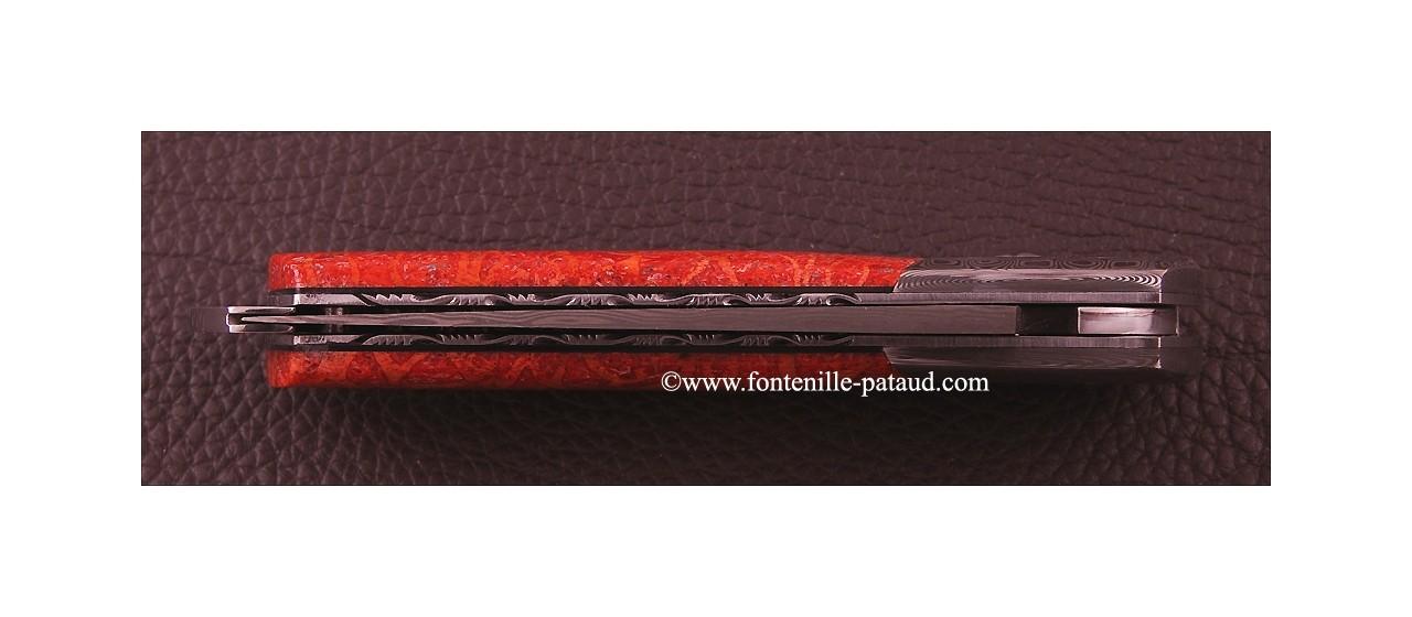 Couteau Le Thiers ® Gentleman Damas Corail rouge, guillochage fin