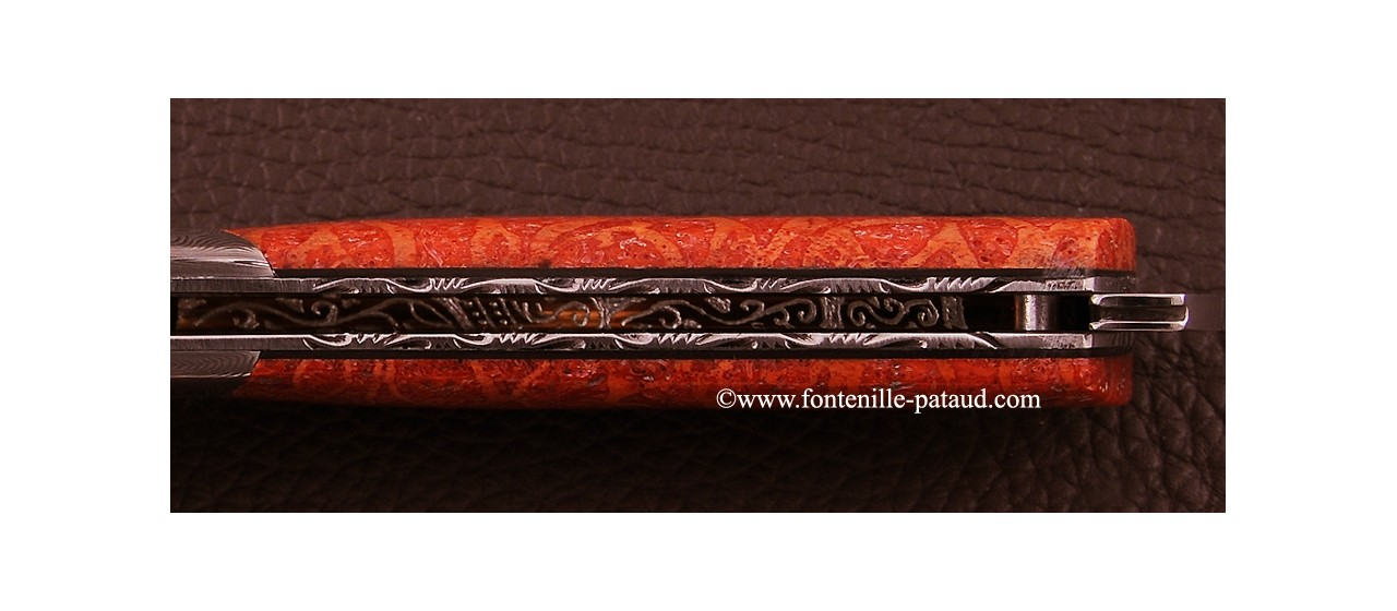 Le Thiers ® Gentleman knife Damascus Red coral, delicate filework
