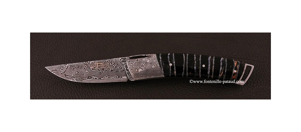 Couteau Le Thiers ® Gentleman Damas Molaire de mammouth, guillochage fin