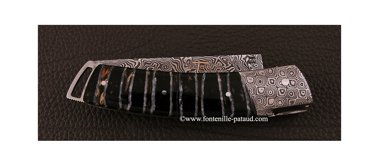 Le Thiers ® Gentleman knife Damascus Molar tooth of mammoth, delicate filework