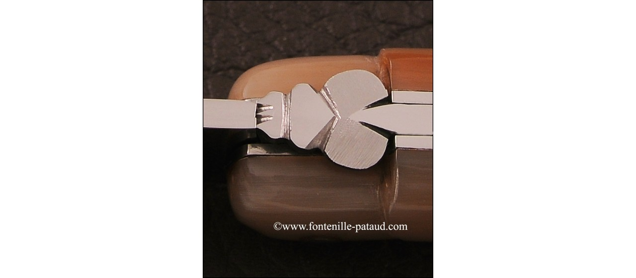 Typical laguiole knife, cow horn tip handle