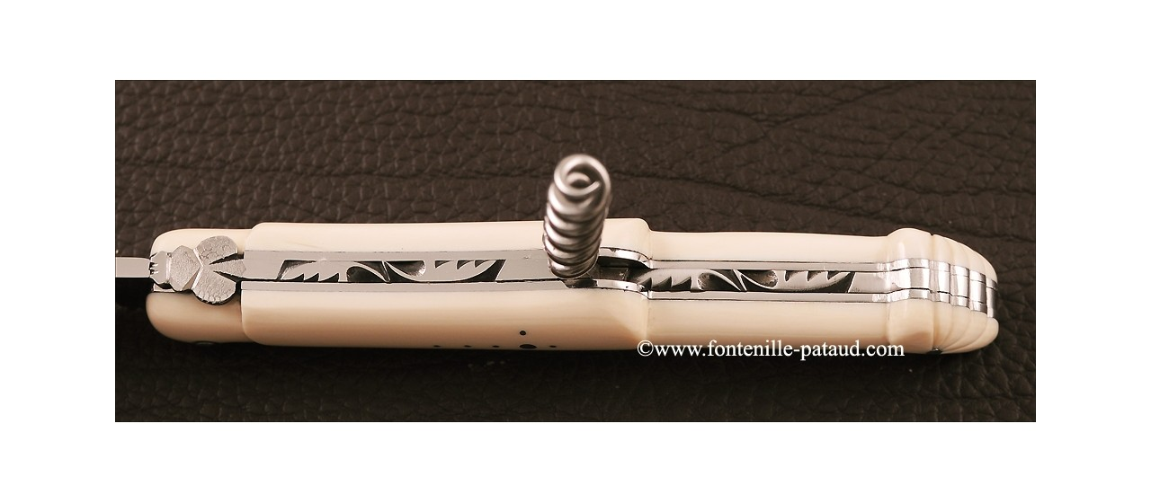 Laguiole Traditional 12 cm Collection range Picnic White Mammoth ivory