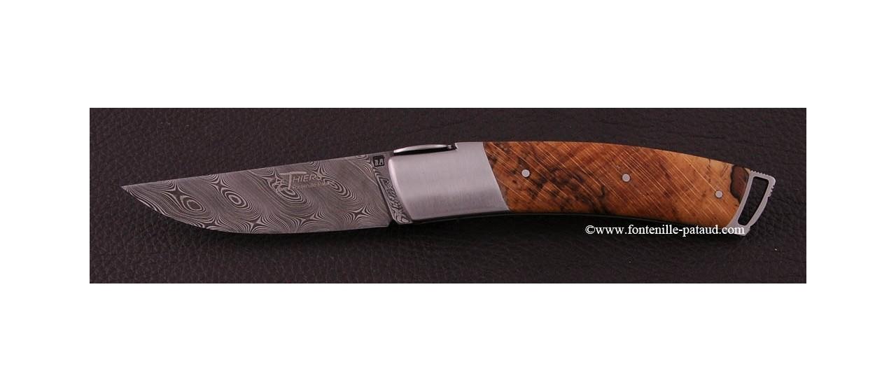 Couteau Le Thiers ® Gentleman Damas Hêtre stabilisé debout