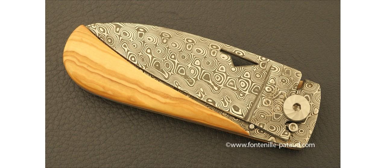 Corsican U Cumpa knife Damascus Range Olivewood