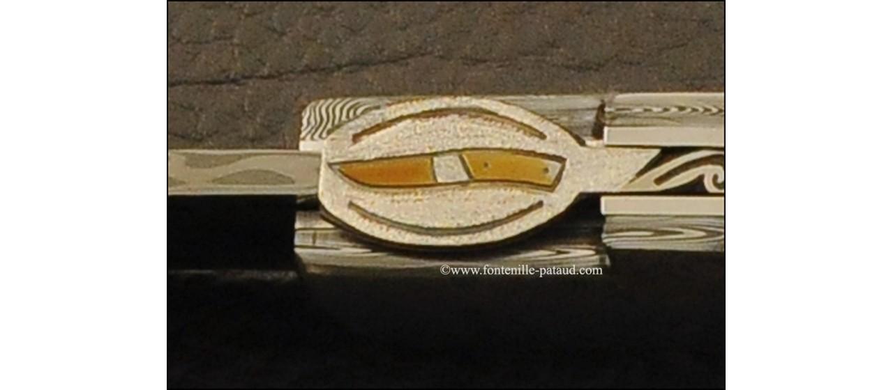 Le Thiers® Gentleman knife Damascus genuine tortoise, delicate filework
