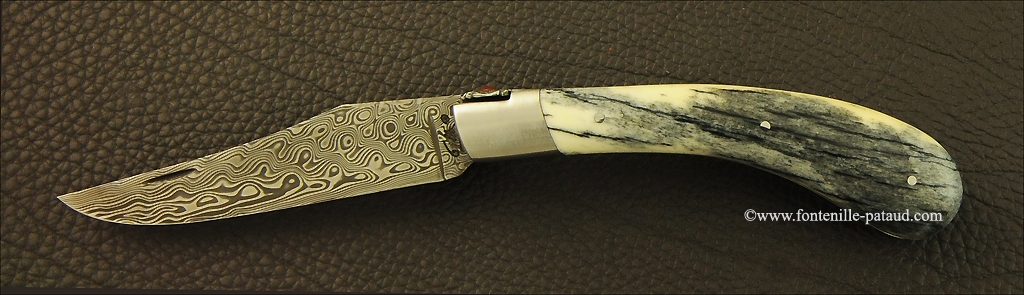 """Le Capuchadou"" 12 cm hand made knife, giraffe bone & Damascus"