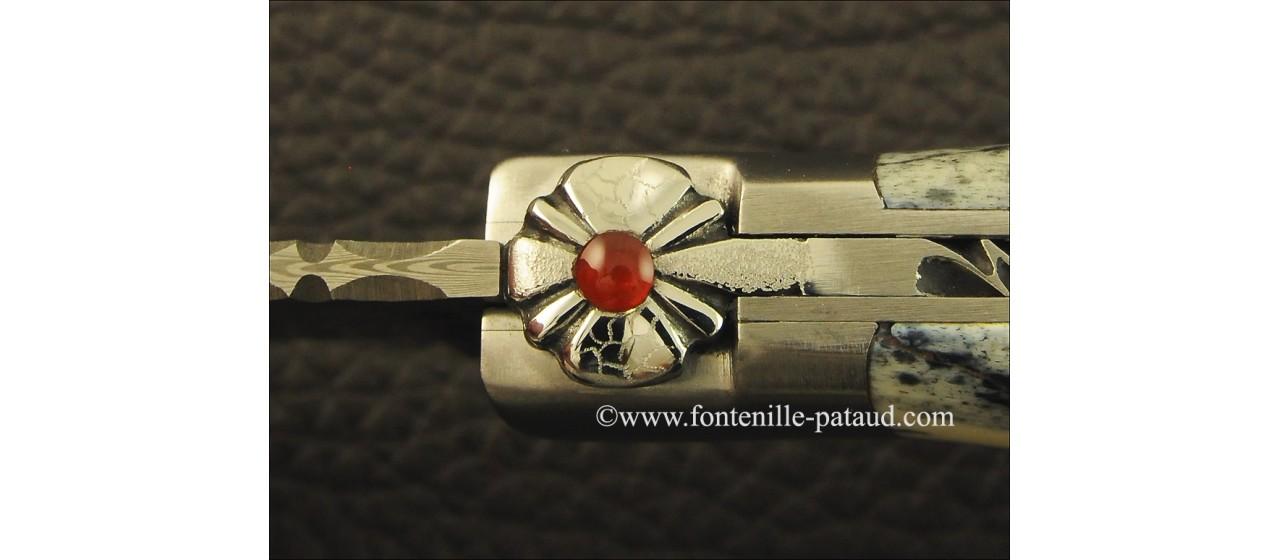 """Le Capuchadou"" 12 cm hand made knife, giraffe bone & Damascus"