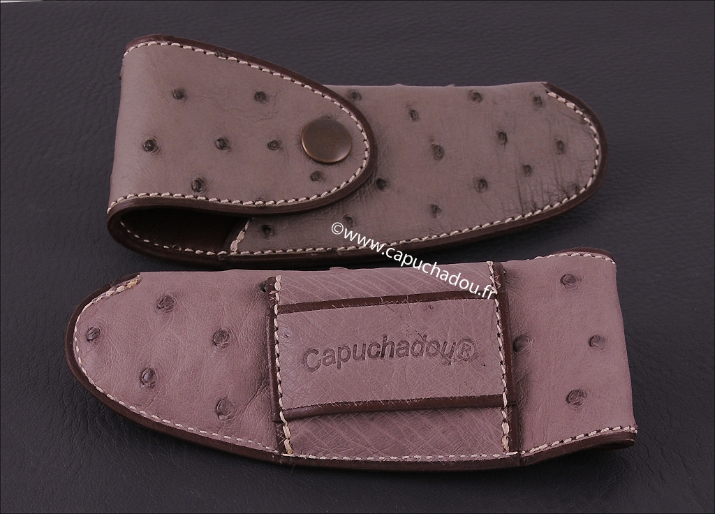 Belt leather sheath for Capuchadou 12 cm knives, made from genuine ostrich grey leather.
