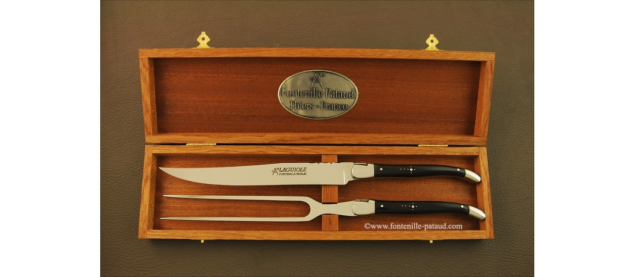 Laguiole Carving Set Buffalo horn tip