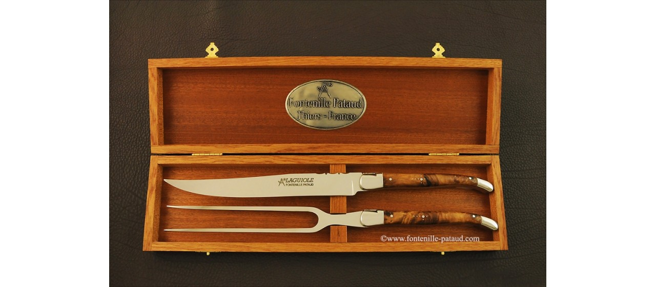 Laguiole Carving Set Stabilized poplar burl