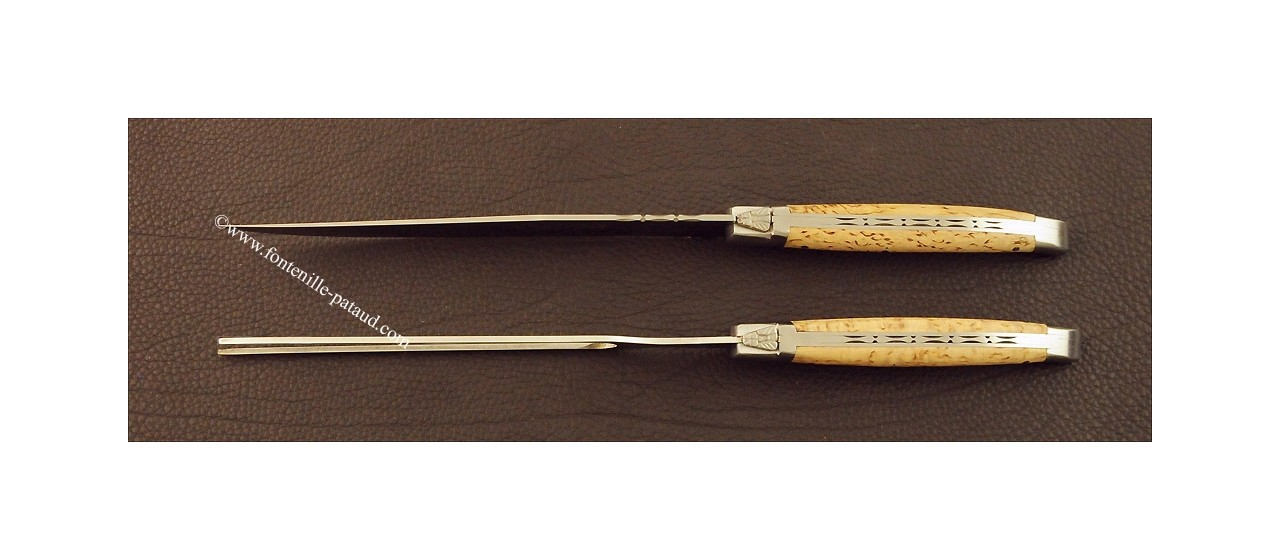 Laguiole Carving Set Curly birch