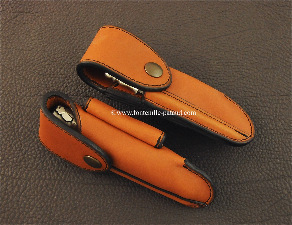 Traditional High-end belt leather sheath tawny for Nature, Laguiole 12 cm & 5 Coqs knives.