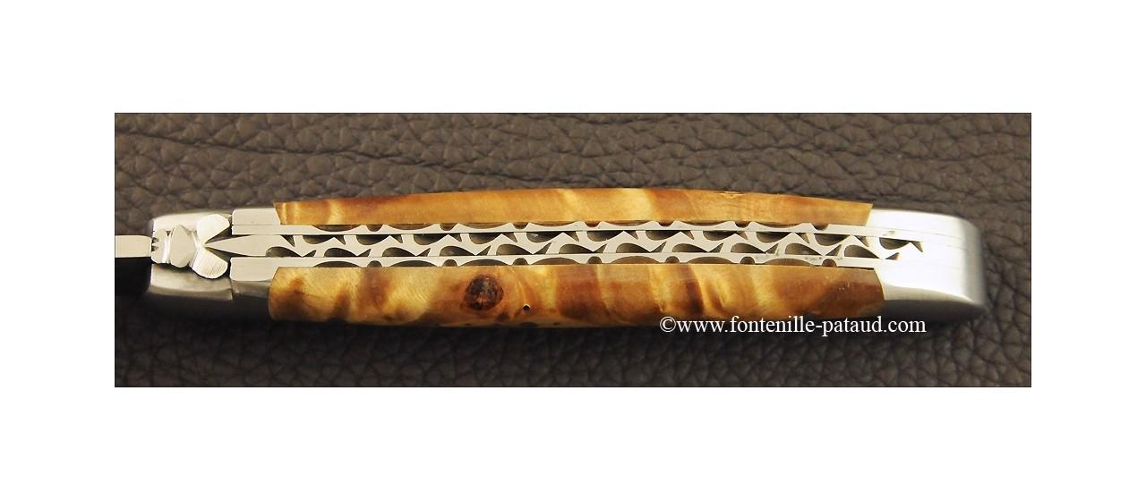 Couteau Laguiole Traditionnel 11 cm Guilloche Loupe de peuplier stabilisée