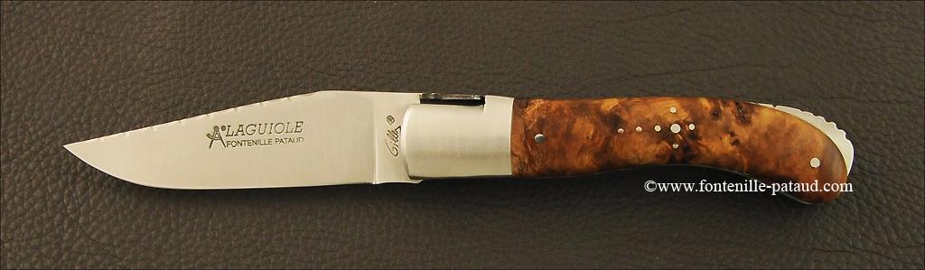 Couteau Laguiole Sport Guilloché Loupe de peuplier stabilisée