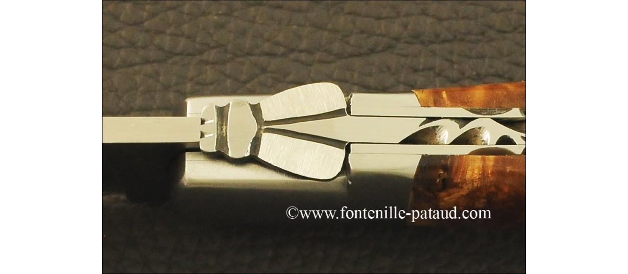 Laguiole Sport knife Guilloché Range Stabilized poplar burl