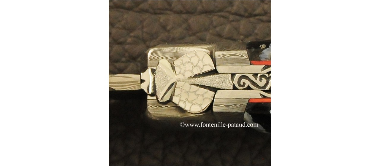 Laguiole knife Le Pocket Damascus Range Molar tooth of Mammoth, delicate file work