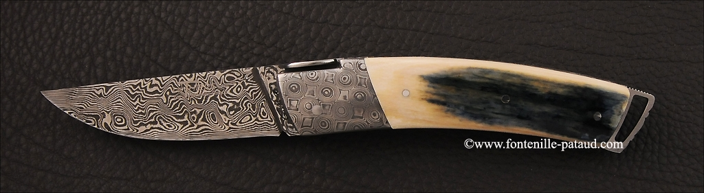 Le Thiers ® Gentleman knife Damascus Blue mammoth ivory, delicate filework