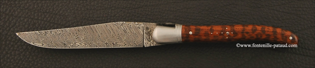 Set of 2 Laguiole Steak Knives Damascus Amourette